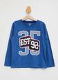 DeFacto Baskılı Uzun Kollu T-shirt Mavi